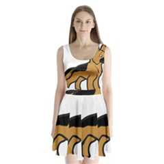 German Shepherd Cartoon Split Back Mini Dress