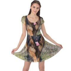 German Shepherd In Motion Cap Sleeve Dresses