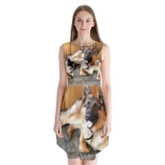 German Shepherd Laying 2 Sleeveless Chiffon Dress