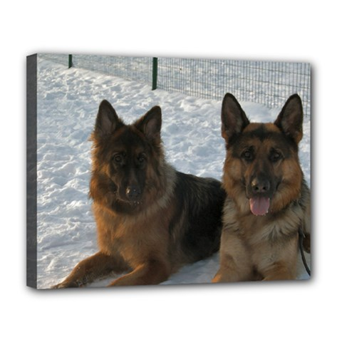 2 German Shepherds Canvas 14  x 11