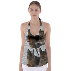 2 German Shepherds Babydoll Tankini Top