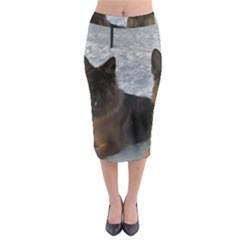 2 German Shepherds Midi Pencil Skirt