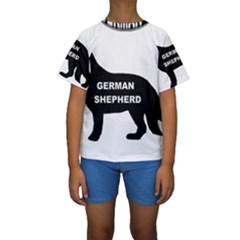 German Shepherd Name Silo Kids  Short Sleeve Swimwear