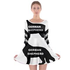 German Shepherd Name Silo Long Sleeve Skater Dress