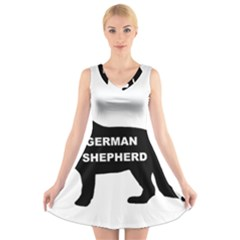 German Shepherd Name Silo V-Neck Sleeveless Skater Dress