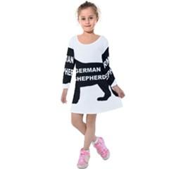 German Shepherd Name Silo Kids  Long Sleeve Velvet Dress