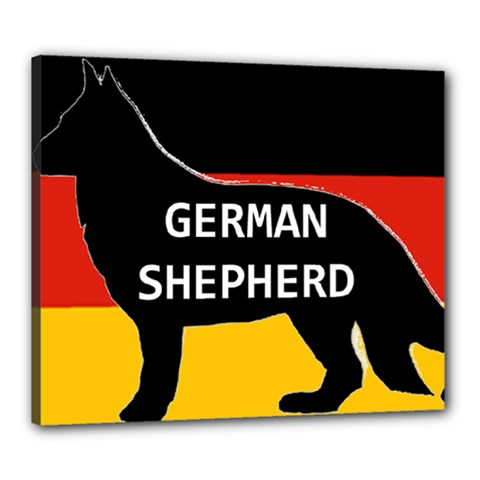 German Shepherd Name Silhouette On Flag Black Canvas 24  x 20