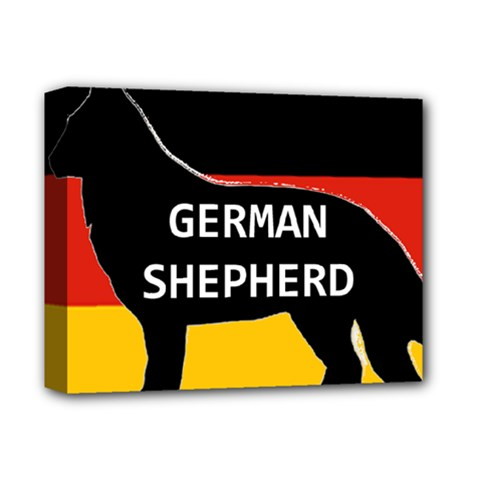 German Shepherd Name Silhouette On Flag Black Deluxe Canvas 14  x 11