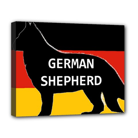German Shepherd Name Silhouette On Flag Black Deluxe Canvas 20  x 16