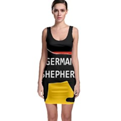 German Shepherd Name Silhouette On Flag Black Sleeveless Bodycon Dress