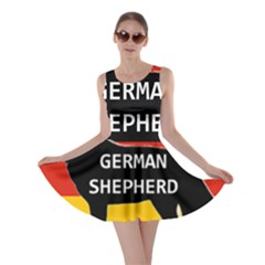 German Shepherd Name Silhouette On Flag Black Skater Dress