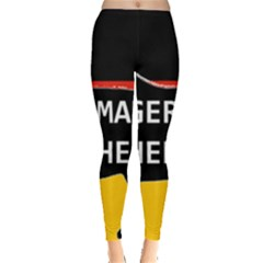 German Shepherd Name Silhouette On Flag Black Leggings