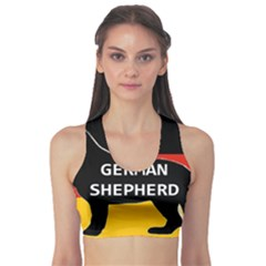 German Shepherd Name Silhouette On Flag Black Sports Bra