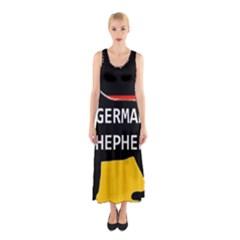 German Shepherd Name Silhouette On Flag Black Sleeveless Maxi Dress