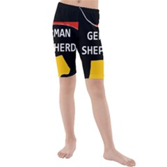 German Shepherd Name Silhouette On Flag Black Kids  Mid Length Swim Shorts