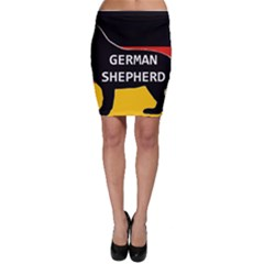 German Shepherd Name Silhouette On Flag Black Bodycon Skirt