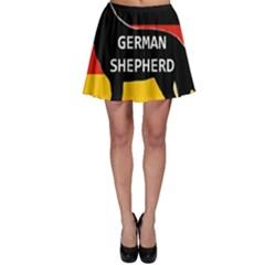 German Shepherd Name Silhouette On Flag Black Skater Skirt