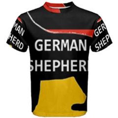 German Shepherd Name Silhouette On Flag Black Men s Cotton Tee