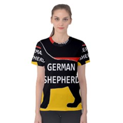 German Shepherd Name Silhouette On Flag Black Women s Cotton Tee