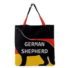 German Shepherd Name Silhouette On Flag Black Grocery Tote Bag