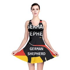 German Shepherd Name Silhouette On Flag Black Reversible Skater Dress