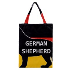 German Shepherd Name Silhouette On Flag Black Classic Tote Bag