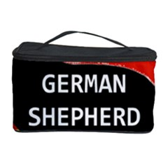 German Shepherd Name Silhouette On Flag Black Cosmetic Storage Case