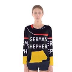 German Shepherd Name Silhouette On Flag Black Women s Long Sleeve Tee