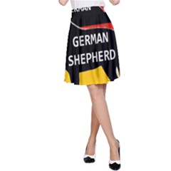 German Shepherd Name Silhouette On Flag Black A-Line Skirt
