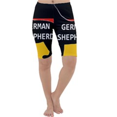 German Shepherd Name Silhouette On Flag Black Cropped Leggings