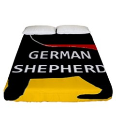 German Shepherd Name Silhouette On Flag Black Fitted Sheet (California King Size)