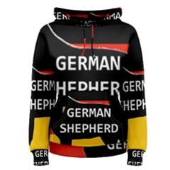 German Shepherd Name Silhouette On Flag Black Women s Pullover Hoodie