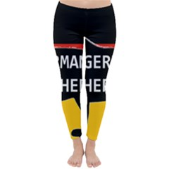 German Shepherd Name Silhouette On Flag Black Classic Winter Leggings