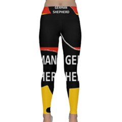 German Shepherd Name Silhouette On Flag Black Classic Yoga Leggings