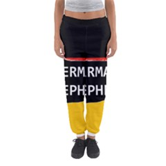 German Shepherd Name Silhouette On Flag Black Women s Jogger Sweatpants