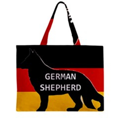 German Shepherd Name Silhouette On Flag Black Zipper Mini Tote Bag
