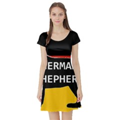 German Shepherd Name Silhouette On Flag Black Short Sleeve Skater Dress