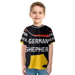 German Shepherd Name Silhouette On Flag Black Kids  Sport Mesh Tee