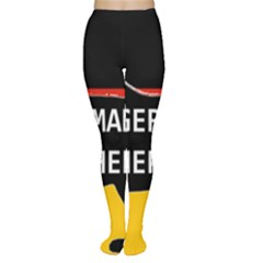 German Shepherd Name Silhouette On Flag Black Women s Tights