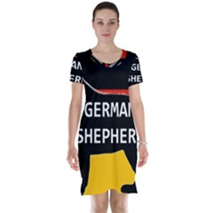 German Shepherd Name Silhouette On Flag Black Short Sleeve Nightdress