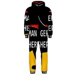 German Shepherd Name Silhouette On Flag Black Hooded Jumpsuit (Men)