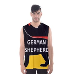 German Shepherd Name Silhouette On Flag Black Men s Basketball Tank Top