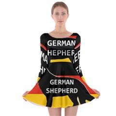 German Shepherd Name Silhouette On Flag Black Long Sleeve Skater Dress