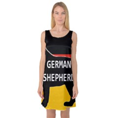 German Shepherd Name Silhouette On Flag Black Sleeveless Satin Nightdress