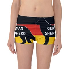 German Shepherd Name Silhouette On Flag Black Boyleg Bikini Bottoms