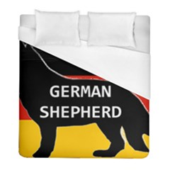 German Shepherd Name Silhouette On Flag Black Duvet Cover (Full/ Double Size)