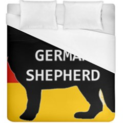 German Shepherd Name Silhouette On Flag Black Duvet Cover (King Size)