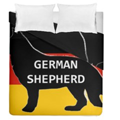German Shepherd Name Silhouette On Flag Black Duvet Cover Double Side (Queen Size)