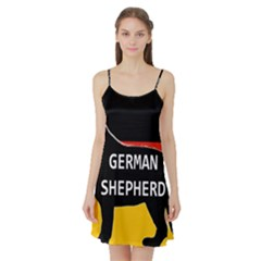 German Shepherd Name Silhouette On Flag Black Satin Night Slip