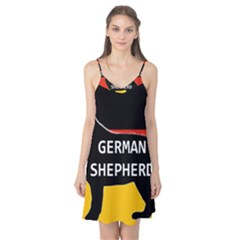 German Shepherd Name Silhouette On Flag Black Camis Nightgown